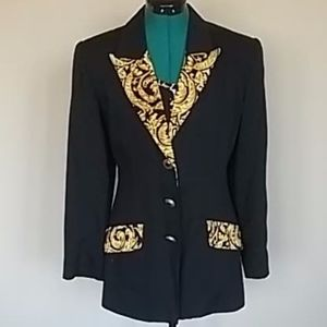 Vintage jacket w/Rococo pattern collar and pockets